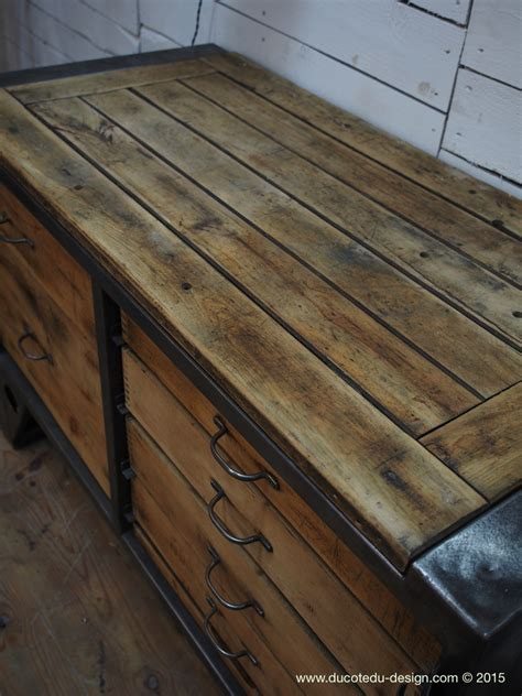 bureau vintage industriel grand etabli industriel bureau metal et bois steel