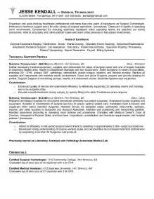 Surgical Technician Resume Exles by Exle Surgical Technologist Resume Free Sle