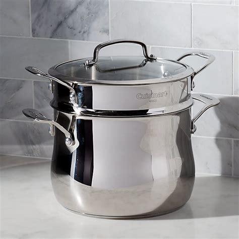 cuisinart  qt  pc pasta pot  strainer  individual cookware reviews crate  barrel