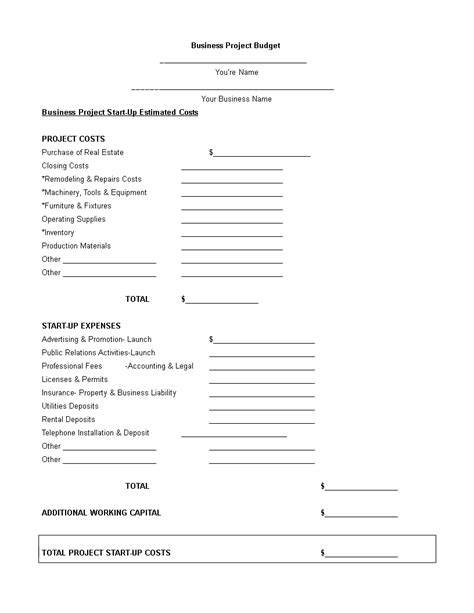 Sample Project Budget Proposal   Templates at