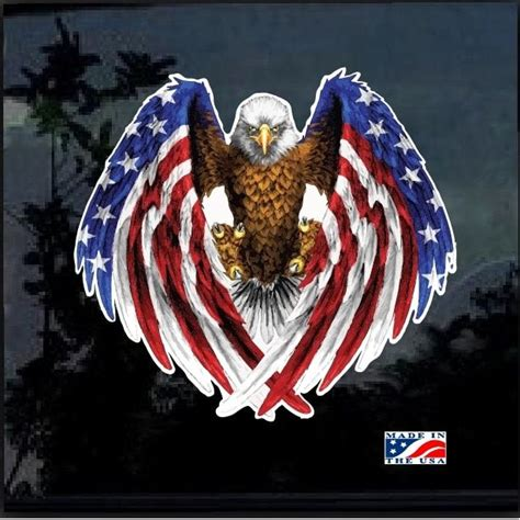 american flag bald eagle full color decal sticker