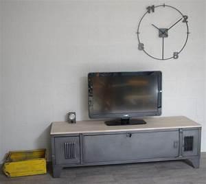 Casier Vestiaire Industriel : vestiaire meuble tv industriel usine restaur m tal et bois ~ Teatrodelosmanantiales.com Idées de Décoration