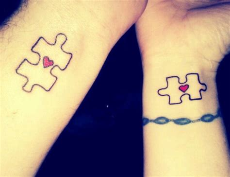 couple tattoos puzzle piece  heart ink pinterest