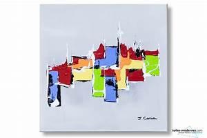 Tableau Moderne Coloré : tableau gris clair abstrait composition harmonieuse moderne ~ Teatrodelosmanantiales.com Idées de Décoration