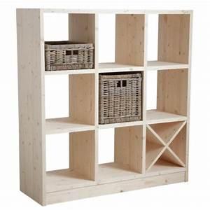 étagère Bois Brut : etag re 9 cases en bois brut boisnature 39 l ~ Teatrodelosmanantiales.com Idées de Décoration