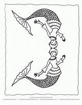 Coloring Merman Clipart Line Popular Library sketch template
