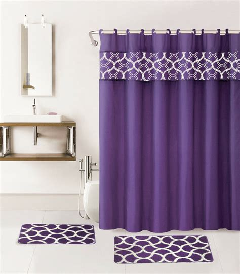 Shower Curtain Set - 15pc purple geometric bathroom set 2 bath mats 1 shower