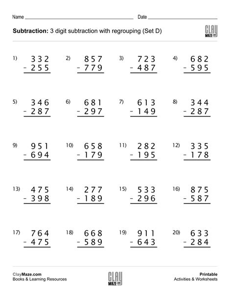 Subtraction Worksheet  3 Digit Subtraction With Regrouping (set D)  Free Printable Children's