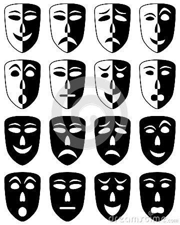 theatre masks set stock photo image
