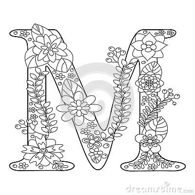 letter  coloring book  adults vector stock vector