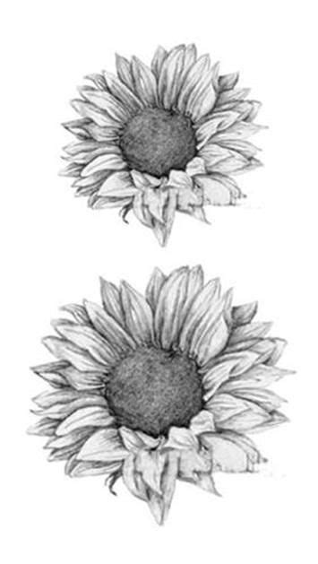 Grace Realistic Black & White Sunflower Temporary Tattoo