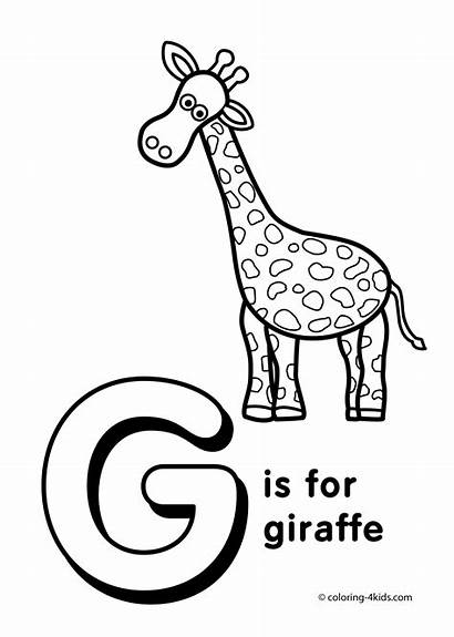 Letter Coloring Alphabet Preschool Printable Giraffe Words