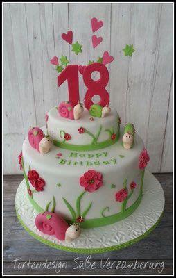 torte zum 18 torte zum 18 geburtstag mit schnecken bithday cake with snail cake bithday cake birthday