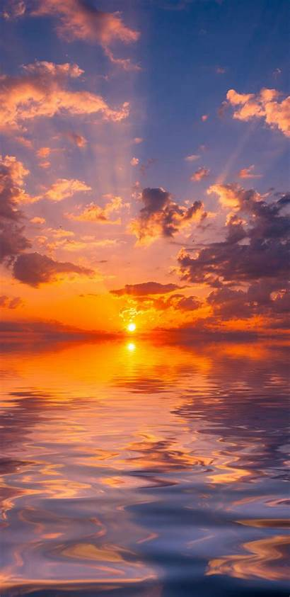 Sunset Clouds Sky Reflection Horizon Nature Sea