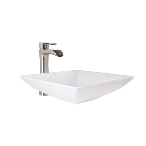 vigo matira matte vessel sink in white and niko faucet set in brushed nickel vgt1086mw