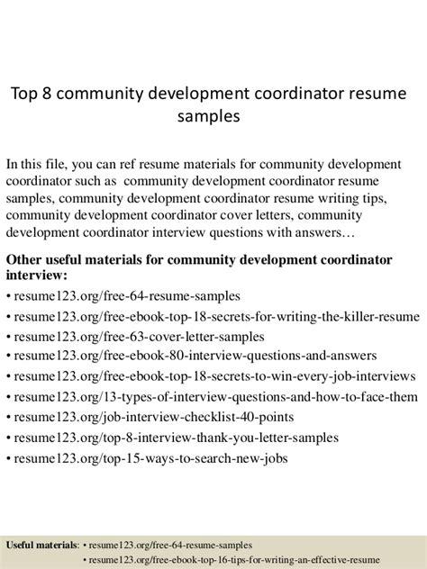 Community Development Coordinator Resume top 8 community development coordinator resume sles