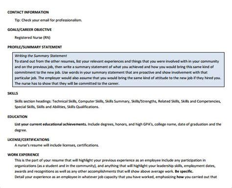 sample nurse resume    documents  word