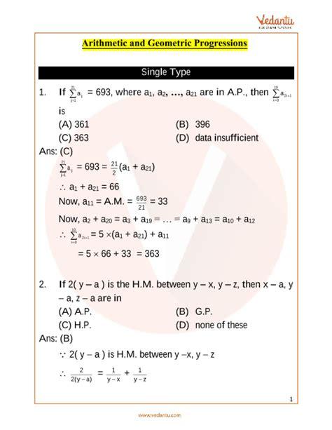 jee advanced arithmetic  geometric progressions