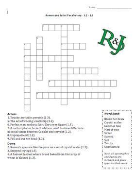 romeo and juliet vocab crossword 1 2 1 3 r j