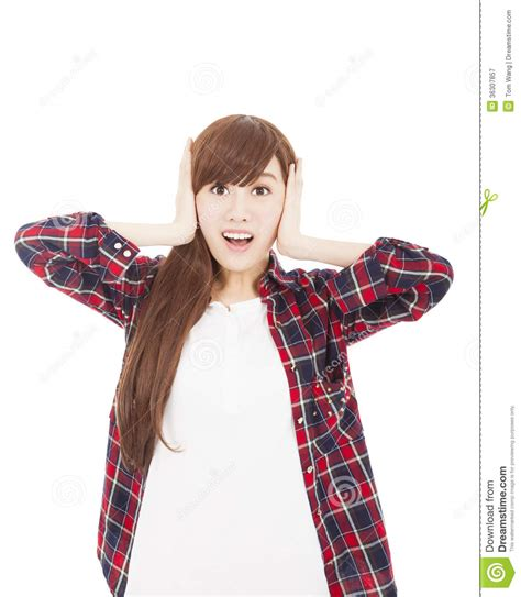 Surprised Excited Beautiful Woman  Girl With Her Hand On