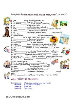 complete the sentences using was or were esl worksheets