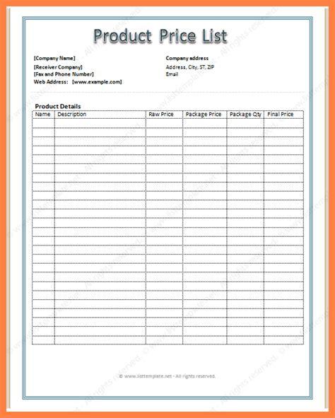 price sheet template marital settlements information