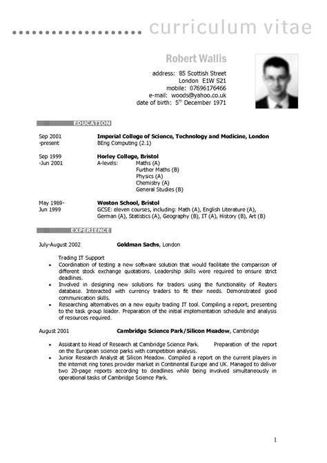 curriculum vitae exle uk hvac cover letter sle
