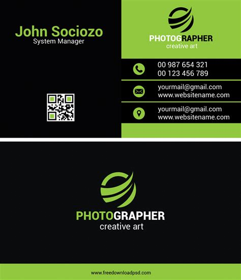 green business card freedownloadpsdcom