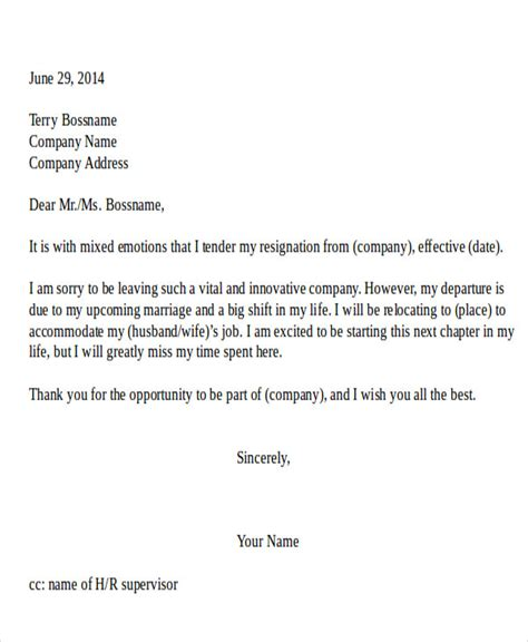 resignation letter due  relocation template