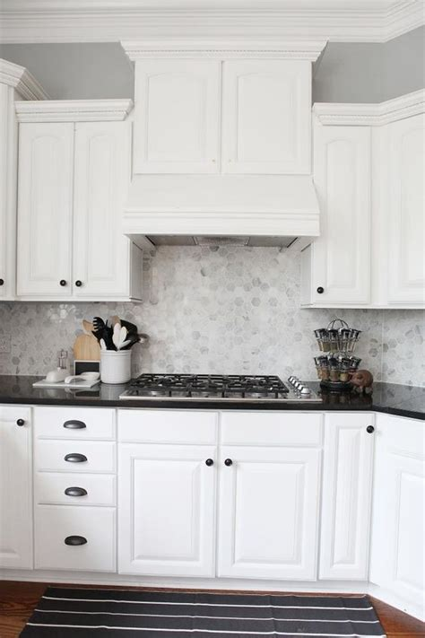 Backsplash With White Cabinets And Gray Walls by Almost There Hexagons Gray Kitchens And Cabinets