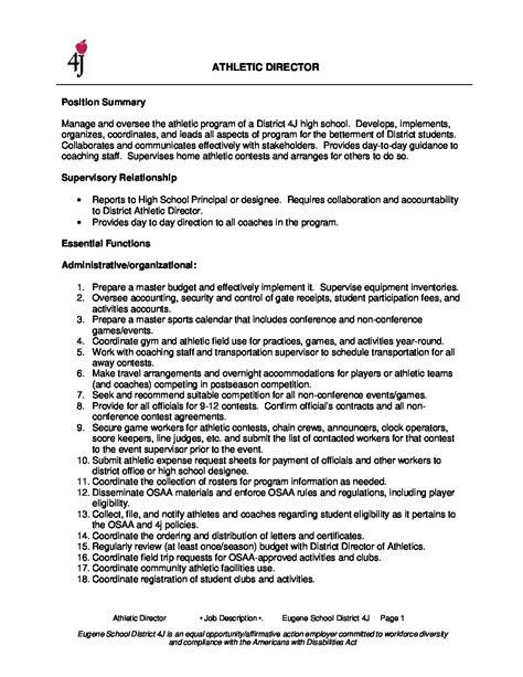 athletic director job description finaldocx