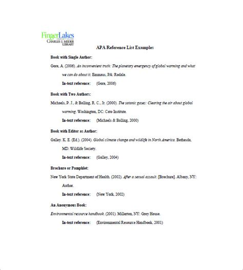 reference list template sle reference page for resume