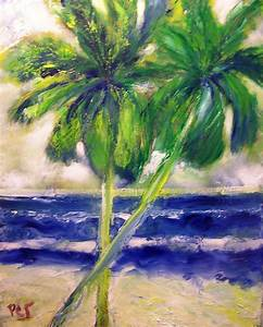 Palm Trees Blowing In The Wind Painting by Patricia Taylor