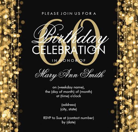 60th Birthday Invites Free Template by 20 Ideas 60th Birthday Invitations Card Templates
