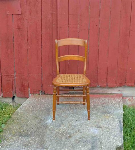 Antique Wood Chair Cane Chairdining Chairaccent