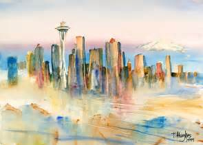 seattle photographers seattle skyline painting by hughes
