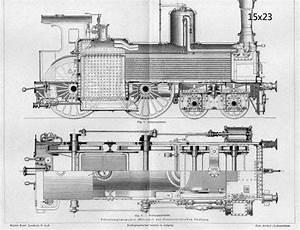 Vintage Train Locomotive Railroad Steam Blueprint Print 17x22 Poster Print Repro