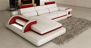 Canapé D Angle Cuir Blanc : deco in paris canape d angle cuir blanc et rouge design ~ Melissatoandfro.com Idées de Décoration