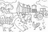 Colouring Farm Colour Farmer Field Fun sketch template