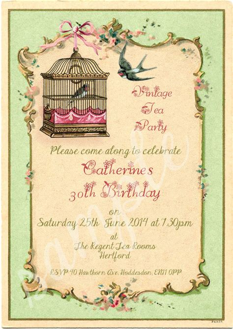 shabby chic invitations any age shabby chic vintage tea party birdcage birthday invitations packs of 10 ebay
