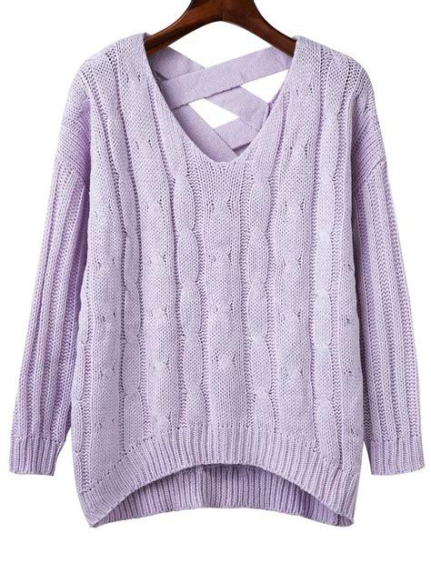 criss cross sweater purple criss cross back v neck sweater