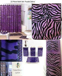Purple Zebra Print Bathroom Set by Bathroom Accessories Set Purple Decor Shower Curtain On