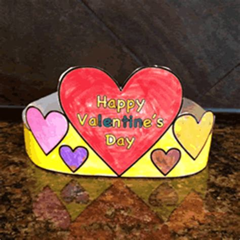 valentines day hat paper craft color template