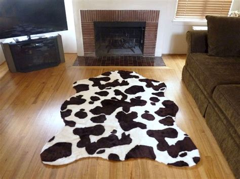 super plush brown white faux  hide rug  france