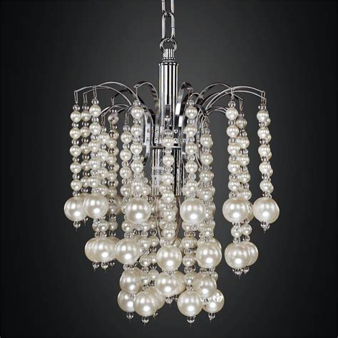 mini pendant chandelier with waterfall faux pearl