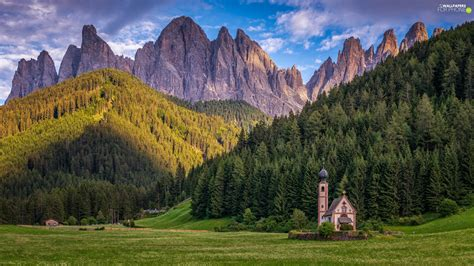 Dolomites Val Di Funes Valley Church Of St John