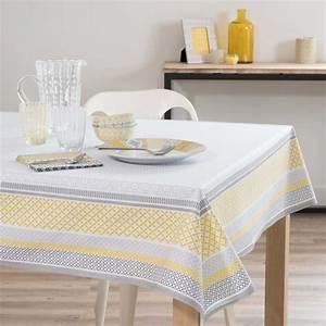 nappe enduite en coton jaune blanche 170 x 170 cm faro With nappes maison du monde