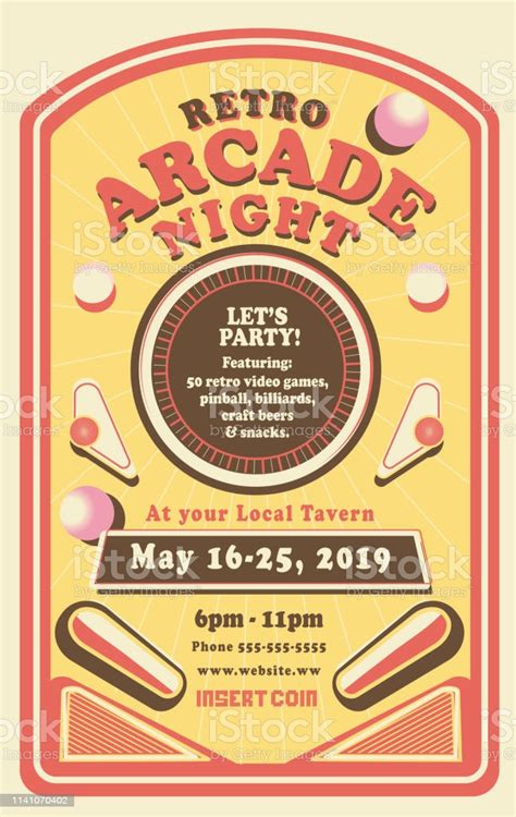 Retro Arcade Night Or Gaming Poster Invitation Design