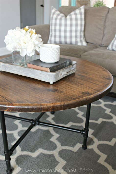A coffee table is very important because it usually has a prominent place in your living room. DIY Round Industrial Coffee Table   A Diamond in the Stuff   Coffee table farmhouse, Industrial ...