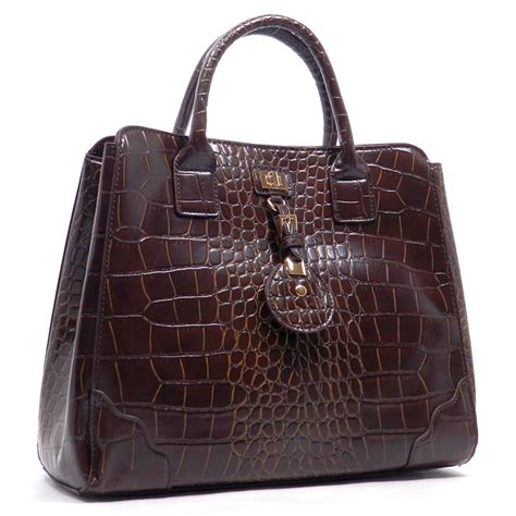 designer inspired handbags designer inspired faux croc leatherette satchel handbag